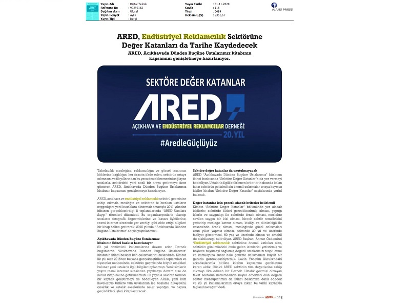 ARED, Endüstriyel Reklamcılık sektörüne Değer Katanları da tarihe kaydedecek