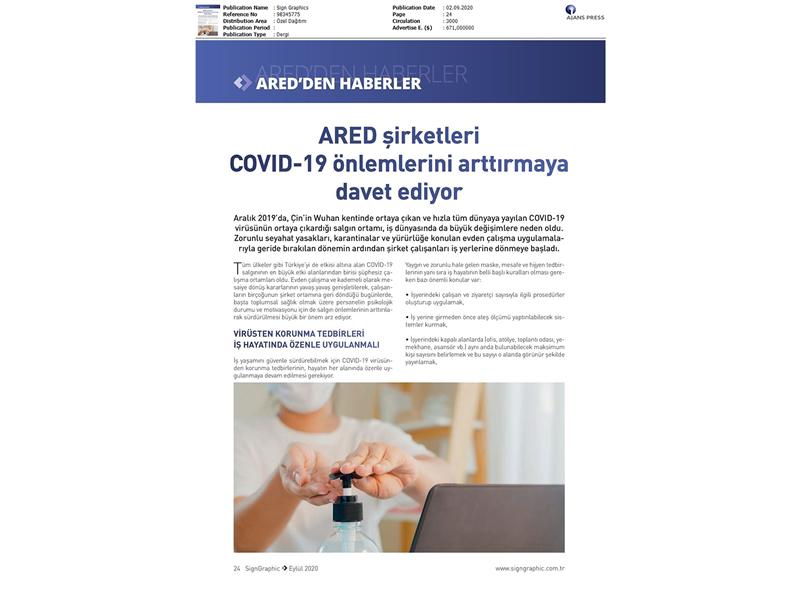 ARED Şirketleri COVID-19 önlemlerini arttırmaya davet ediyor