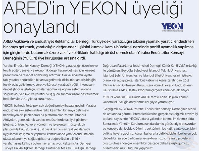 ARED'in YEKON üyeliği onaylandı