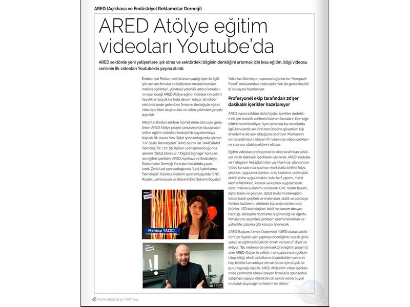 ARED Atölye eğitim videoları Youtube'da